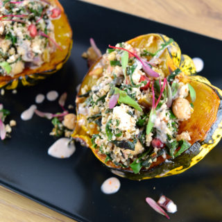 Middle Eastern Stuffed Squash with Chickpeas and Chard