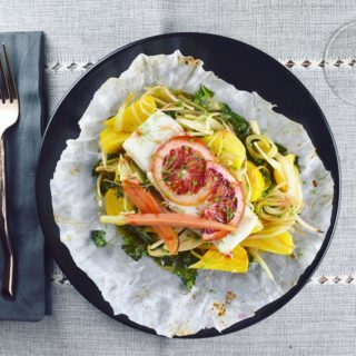 Fish & Vegetable Parcels with Blood Orange Gastrique