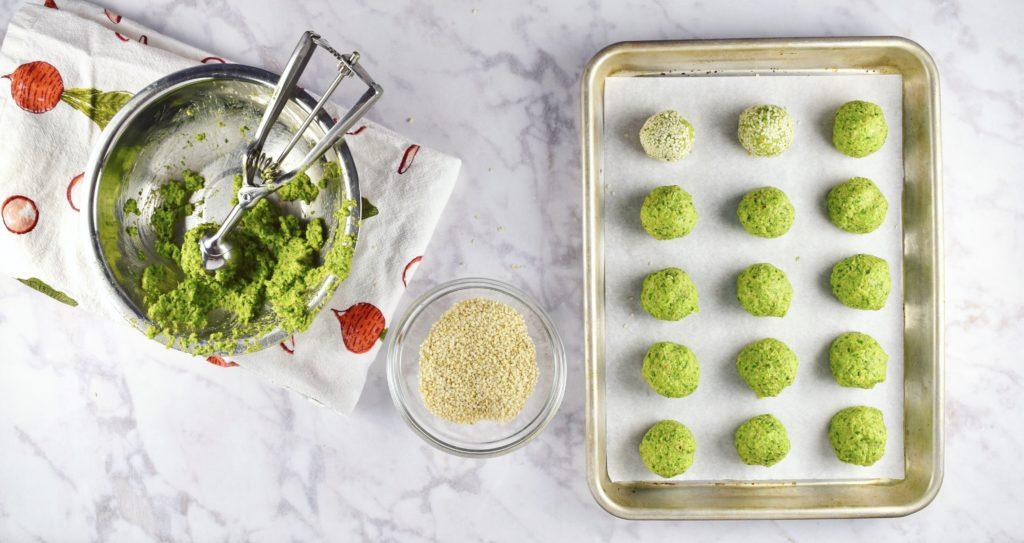 Rolling Spring Pea Falafel Balls Good Health Gourmet