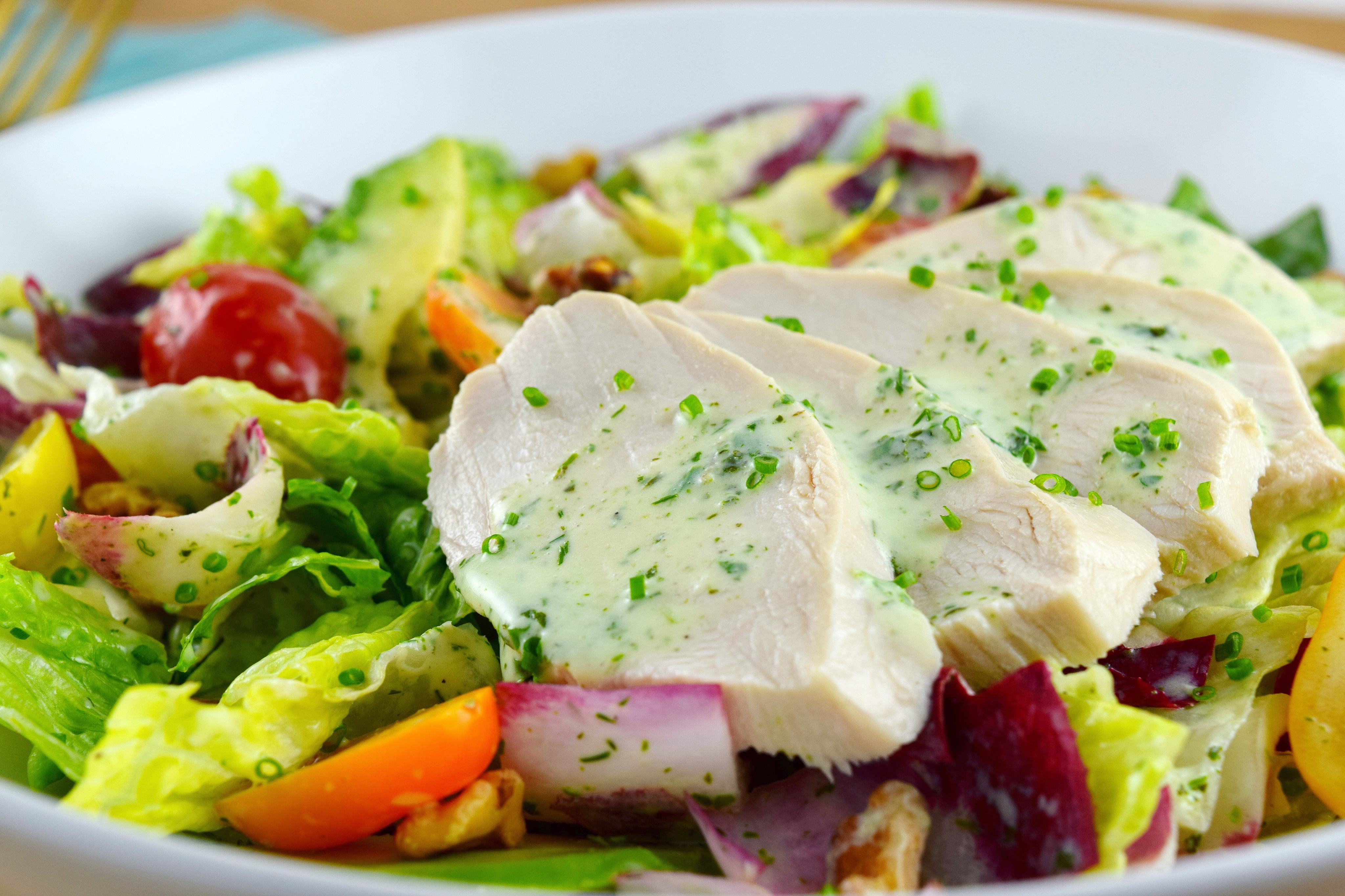 Poached chicken salad with buttermilk vinaigrette good health gourmet poached chicken salad with buttermilk vinaigrette forumfinder Choice Image
