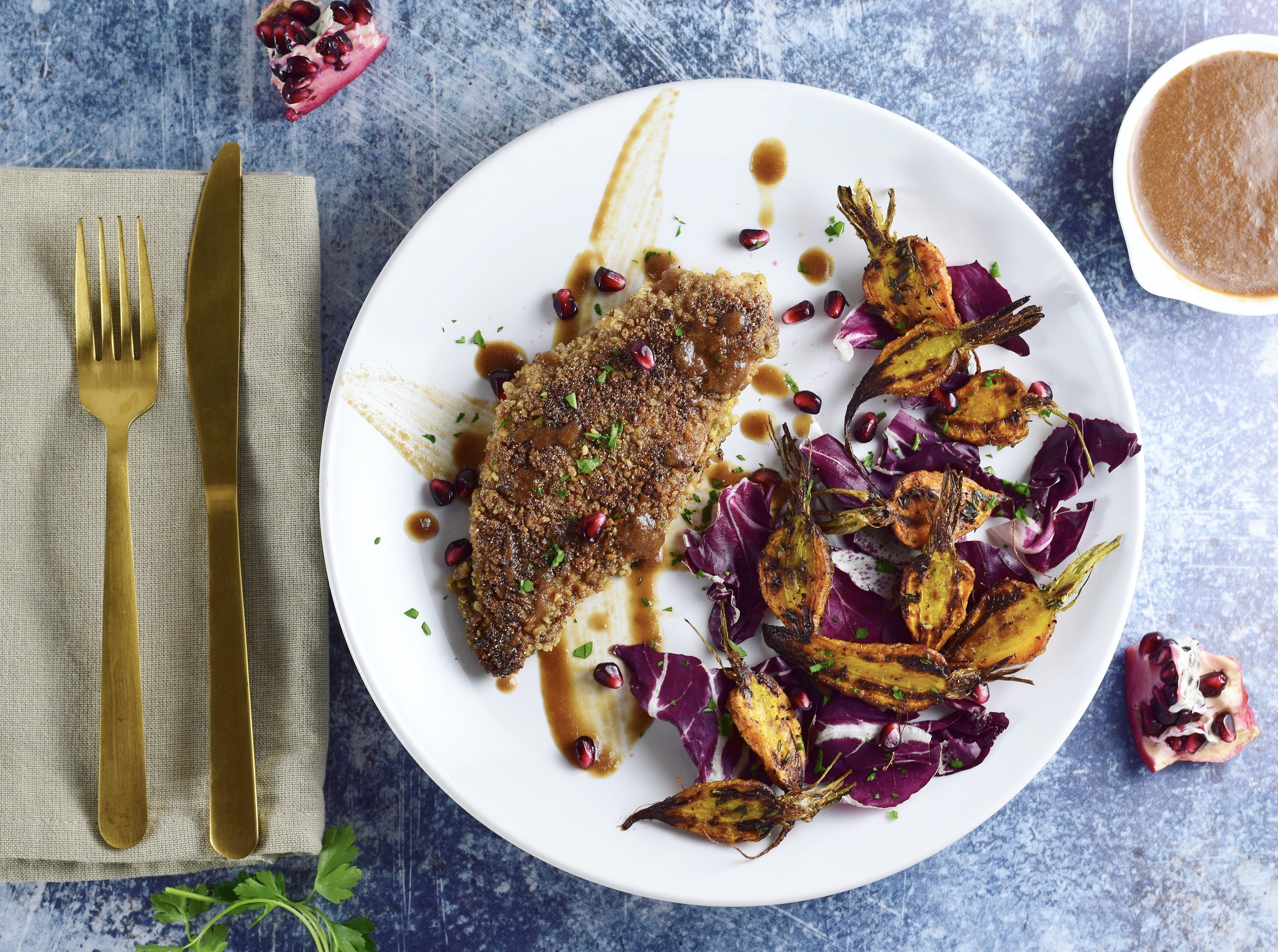 Walnut Crusted Chicken Breasts With Persian Spices And Pomegranate Sauce